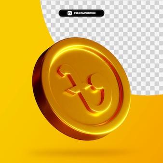 Renderização 3d de moeda taka dourada de bangladeshi isolada