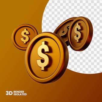 Renderização 3d de moedas isolada