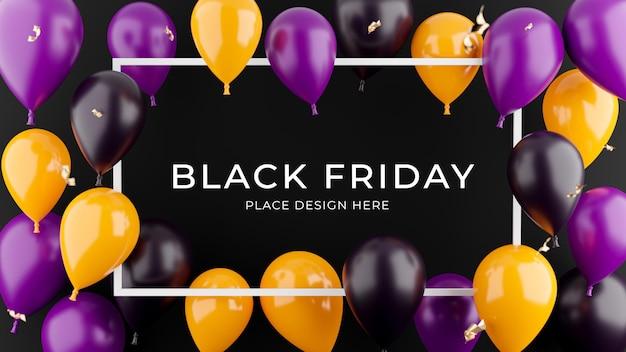 Renderização 3d de moldura branca com balões, conceito de compras de cartaz para exibição de produtos