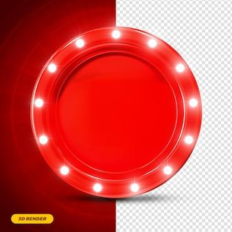 Renderização 3d de moldura vermelha com luzes para composição premium psd