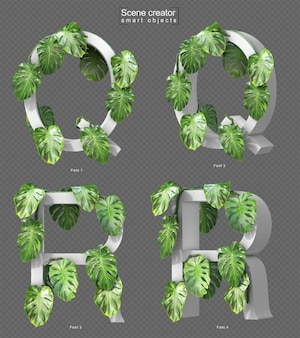 Renderização 3d de monstera rastejante no alfabeto q e alfabeto r