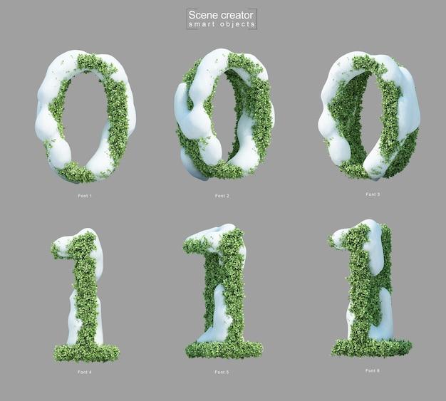 Renderização 3d de neve em arbustos em forma de número 0 e número 1