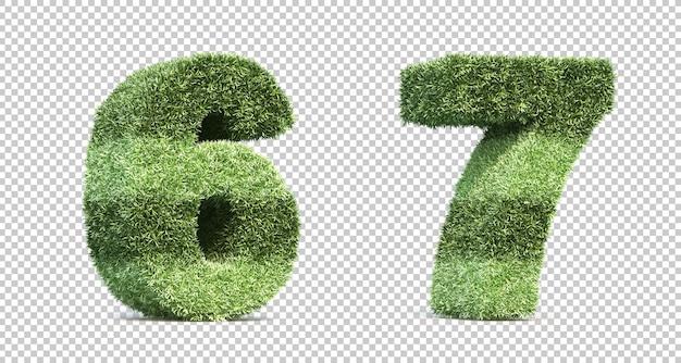 Renderização 3d de números de gramados