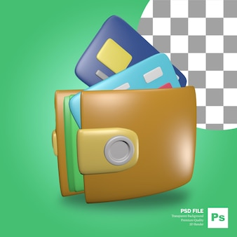 Renderização 3d de objetos de carteira com vários cartões de crédito