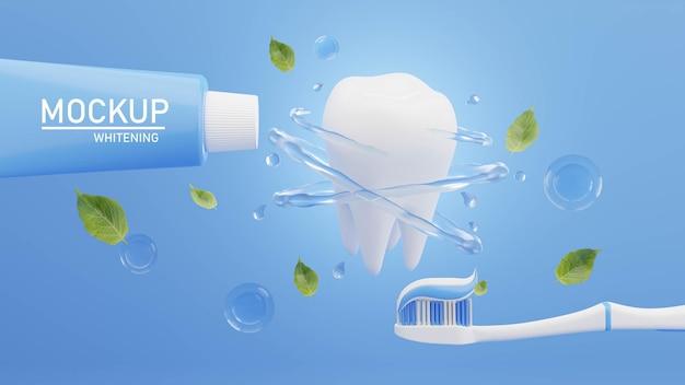 Renderização 3d de pasta de dente com escova de dente para marca de maquete