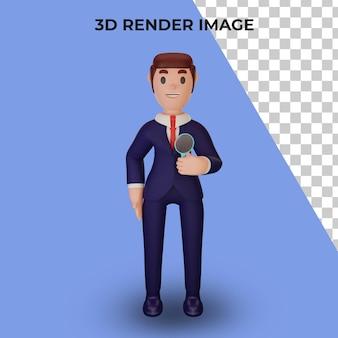 Renderização 3d de personagem com conceito de negócio