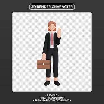Renderização 3d de personagem feminina com pasta de escritório