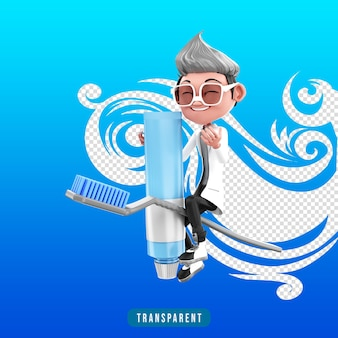 Renderização 3d de personagem médico com pasta de dente
