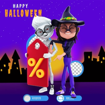 Renderização 3d de personagens de halloween