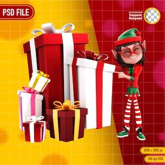 Renderização 3d de personagens elfos e presente de natal