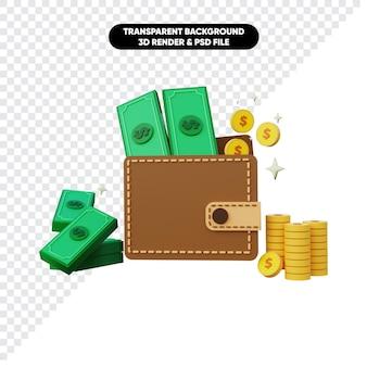 Renderização 3d de pilha de moedas de dinheiro e carteira