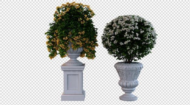 Renderização 3d de plantas com flores amarelas e brancas
