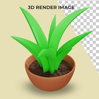 Renderização 3d de plantas em vasos