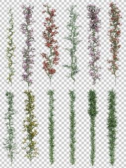 Renderização 3d de plantas verticais