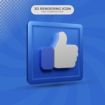 Renderização 3d de polegares para cima como design de ícone
