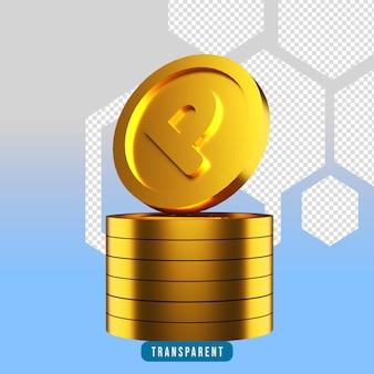 Renderização 3d de pontas de moedas