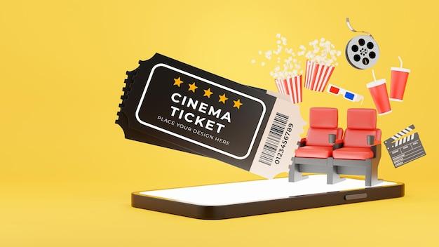 Renderização 3d de pop-up de bilhete de cinema a partir de smartphone com reserva de bilhetes online