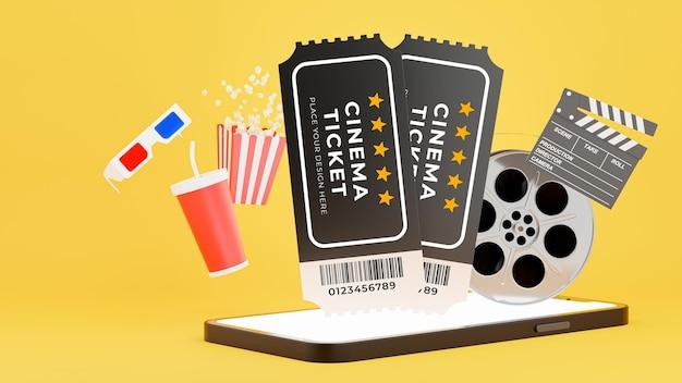 Renderização 3d de pop-up de ingresso de cinema no smartphone com reserva de ingressos onling