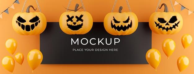 Renderização 3d de pôster preto com conceito de desconto de halloween, abóbora, balões, para exposição de produtos