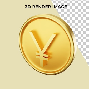 Renderização 3d de psd prêmio em moeda iene