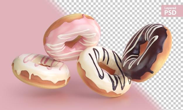 Renderização 3d de quatro donuts voadores