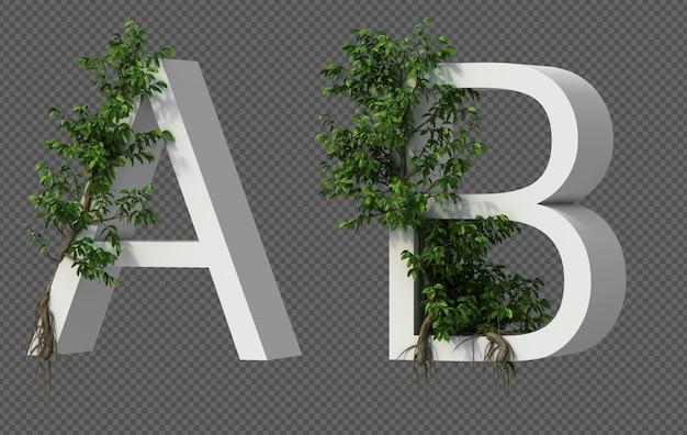 Renderização 3d de rastejando árvore no alfabeto a e alfabeto b