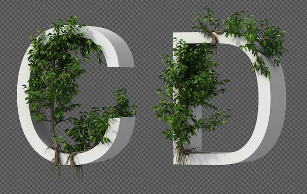 Renderização 3d de rastejando árvore no alfabeto c e alfabeto d