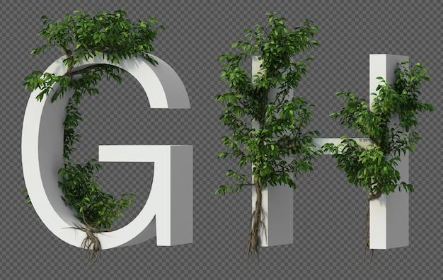 Renderização 3d de rastejando árvore no alfabeto g e alfabeto h