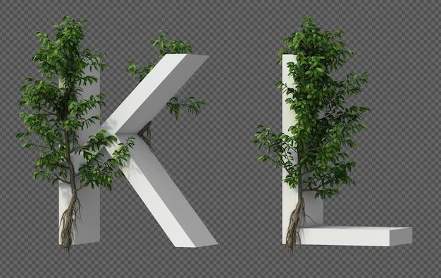 Renderização 3d de rastejando árvore no alfabeto k e alfabeto l