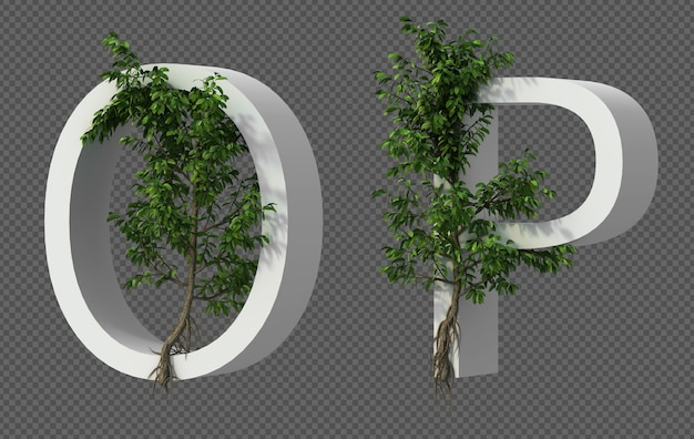 Renderização 3d de rastejando árvore no alfabeto o e alfabeto p