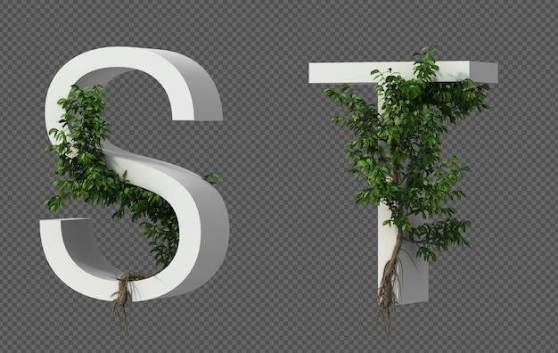 Renderização 3d de rastejando árvore no alfabeto s e alfabeto t