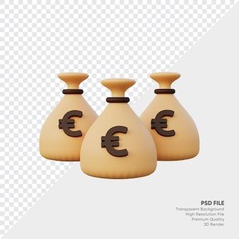 Renderização 3d de saco de dinheiro euro