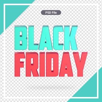 Renderização 3d de sexta-feira negra isolada premium psd