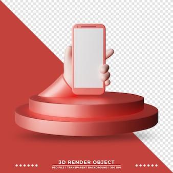 Renderização 3d de smartphone com bonito desenho de mãos no palco