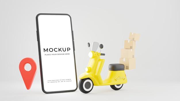 Renderização 3d de smartphone com design de maquete de conceito de envio ou entrega