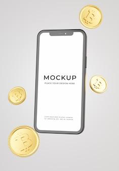 Renderização 3d de smartphone com maquete de bitcoins