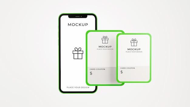 Renderização 3d de smartphone com maquete de cartão-presente