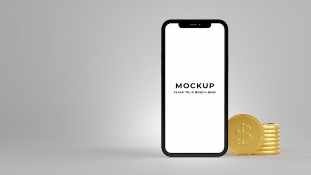 Renderização 3d de smartphone com pilha de moedas de ouro