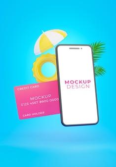 Renderização 3d de smartphone realista com cartão de crédito para exibição de produto