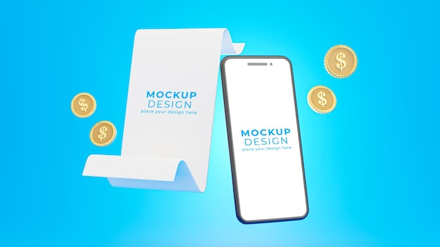Renderização 3d de smartphone realista com recibo para exibição do produto