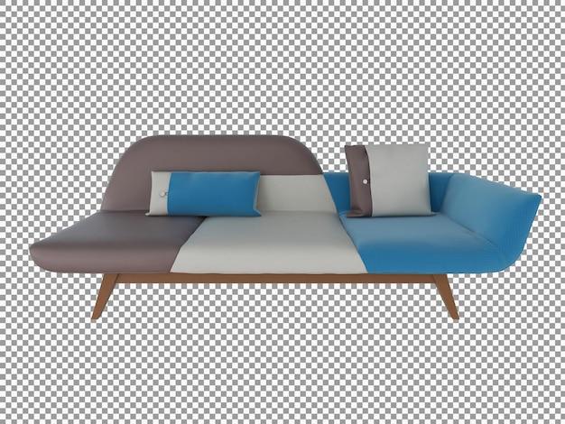 Renderização 3d de sofá de tecido minimalista com interior de madeira isolado