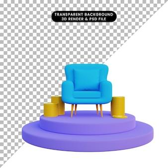 Renderização 3d de sofá individual com moeda