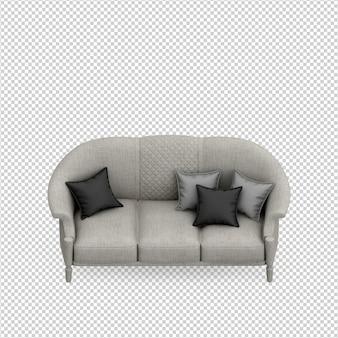 Renderização 3d de sofá isométrico