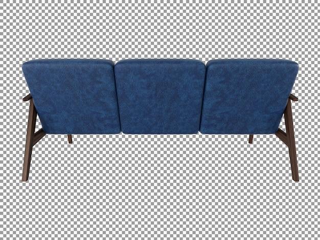 Renderização 3d de sofá minimalista de tecido azul com interior de madeira isolado