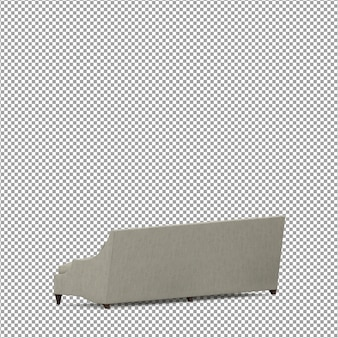 Renderização 3d de sofá minimalista isolado