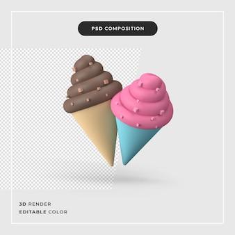 Renderização 3d de sorvete colorido de cone