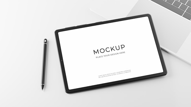 Renderização 3d de tablet com design de maquete de laptop