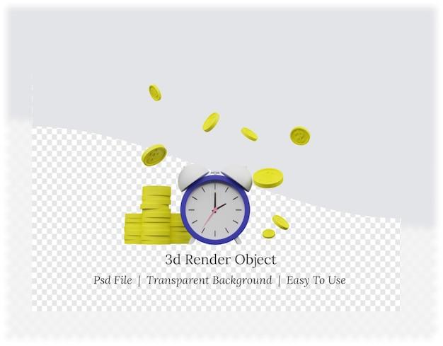 Renderização 3d de tempo é conceito de dinheiro