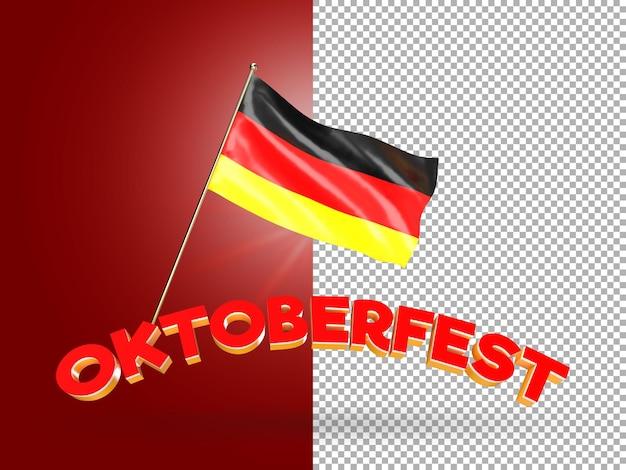 Renderização 3d de texto oktoberfest com bandeira da alemanha psd premium