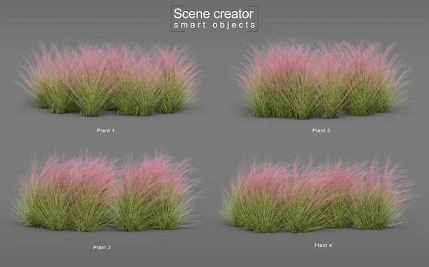 Renderização 3d de três grama roxa